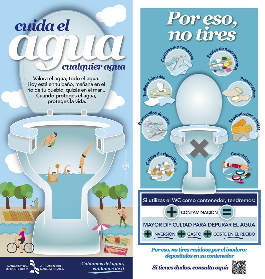 Diptico campaña: Cuida el agua, cualquier agua. Mancomunidad de Montejurra / Jurramendiko Mankomunitatea
