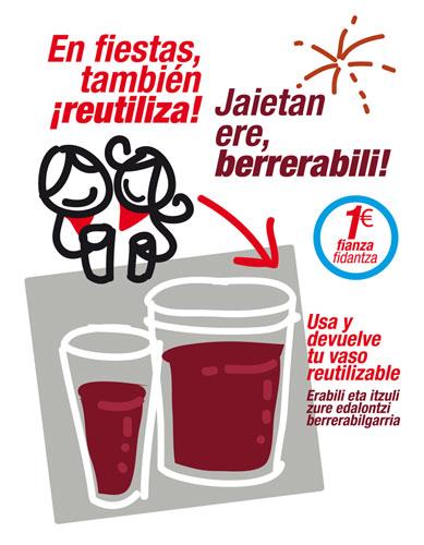 Vasos de plástico reutilizables. Mancomunidad de Montejurra
